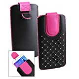 Emartbuy Black / Hot Pink Gem Studded Premium PU Leather Slide in Pouch Case Cover Sleeve Cover Holder ( Size LM2 ) With Pull Tab Mechanism Suitable For Samsung Galaxy A5 ( 2017 )