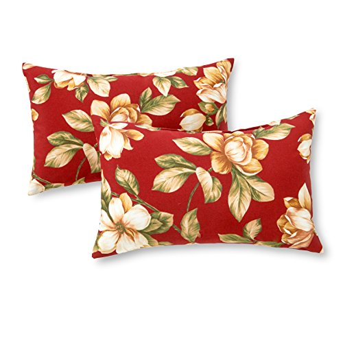 (Greendale Home Fashions Rectangle Outdoor Accent Pillow (set of 2), Roma Floral)