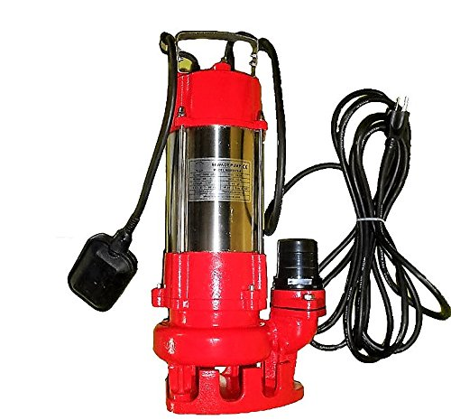Hallmark Industries MA0387X-8 Sewage Pump with Float Switch, 5600 gpm, Stainless Steel, Heavy Duty, 3/4 hp, 115V, 38' Lift, 20' Cable by Hallmark Industries (Image #1)