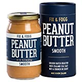 Fix & Fogg Smooth Peanut Butter (13.2 oz) All Natural, Handmade, Vegan, Golden Roasted with Glass Jar and Beautifully Designed Cardboard Gift Canister.