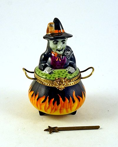Authentic French Porcelain Hand Painted Limoges Box Halloween Witch in Cauldron with Black Cat Owl and Removable Magic Wand ()