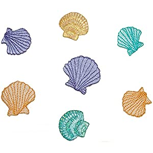 "[7 Count Set] Custom and Unique (1"" x 1"" Inch) ""Beach"" Simple By The Sea Fun Summertime Pastel Seashell Design Iron On Embroidered Applique Patch {Blue, Purple, Orange & Yellow Colored}"