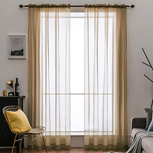 MIULEE 2 Panels Solid Color Sheer Window Curtains Elegant Window Voile Panels/Drapes/Treatment for Bedroom Living Room (54X90 Inches Brown)