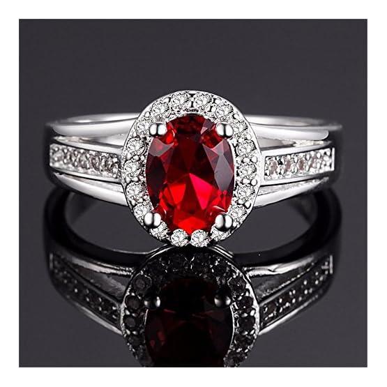 Size 6 7 8 9 Uloveido Womens Punk Black Wedding Rings Oval and Round Cut Red White Cubic Zirconia Rhinestones Open Tail Anniversary Jewelry J656