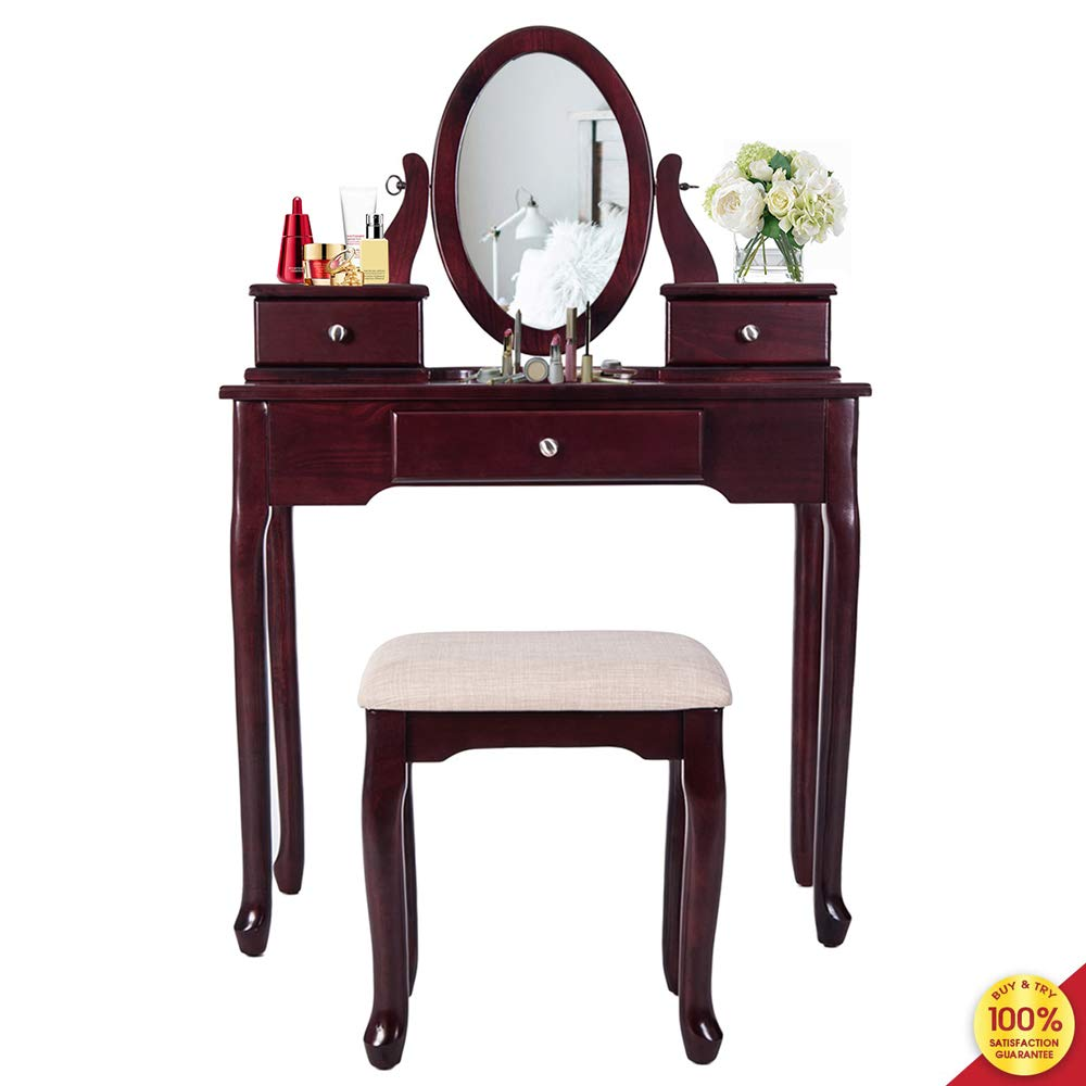 anity Set with Flip Top Makeup Dressing Table & Cushioned Stool-2 PC Contemporary Mirrored Make Up Desk, Cherry