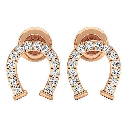 Diamond Horseshoe Ring Ladies (0.10 Carat (ctw) 18K Rose Gold Round White Diamond Ladies Horseshoe Stud Earrings 1/10 CT)