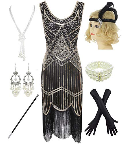 1920s Gatsby Sequin Fringed Paisley Flapper Dress with 20s Accessories Set (2XL, Gold)