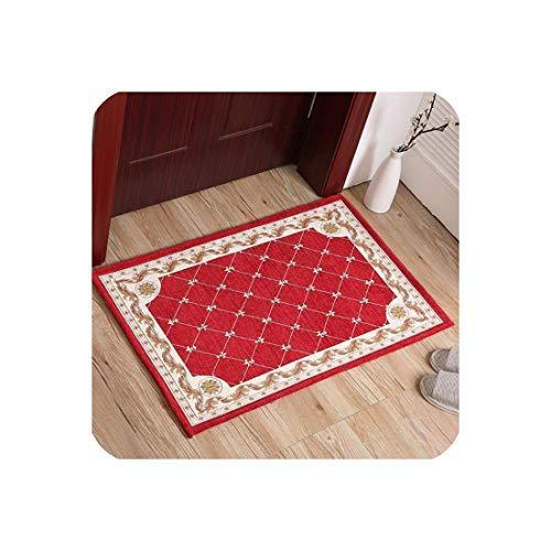Classical Nordic European Style Soft Carpets for Living Room Bedroom Door Mat Home Bathroom Mats Floor Carpet Area Rug,Burgundy,60x90 cm - India House Burgundy Rectangle Rug