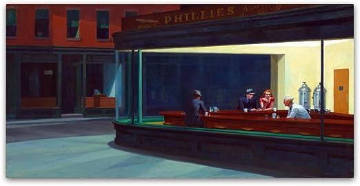 Amazon Com Nighthawks By Edward Hopper 16x32 Inch Canvas Wall Art Home Kitchen