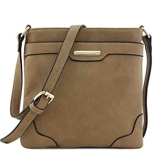 Women's Medium Size Solid Modern Classic Crossbody Bag with Gold Plate (Taupe)