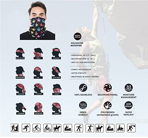KALILY 6PCS Headband Bandana - Versatile 12-in-1 Sports & Casual Headwear -Multifunctional Seamless Neck Gaiter, Headwrap, Balaclava, Helmet Liner, Face Mask for Camping, Running, Cycling, Fishing etc