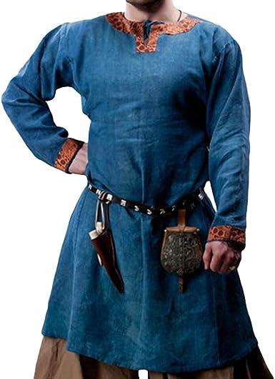 YUANDONGXING Camisa De Hombre Traje Medieval Túnica Manga Larga Túnica Suelta Vikingos Celtics Cosplay Túnica Pirata Guerrero Caballero Hombre Top: Amazon.es: Ropa y accesorios