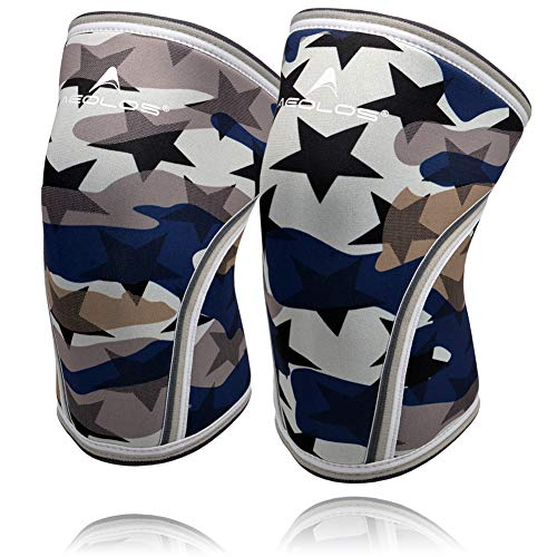 Knee Sleeves (1 Pair), 7mm Thick Compression Knee Braces Offer Strong Support for Weightlifting | Cross Training | Powerlifting | Bodybuilding | Squats | Gym and Other Sports (Medium, Star Camo)