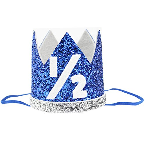 Half Baby Boy Birthday Crown Headband 1 2 Prince Party Hat Hairband Photo Prop