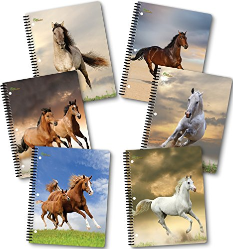 New Generation - HORSES - 1 Subject 70 Sheets 8'' x 10.5'' Wirebound Spiral Notebook, 6 PACK,WIDE Ruled, Heavy Duty covers,3 Hole Punch Perforated sheets, (6 PACK SPIRAL NOTEBOOK) (HORSES) by New Generation