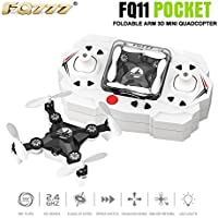 Qwinout FQ777-FQ11 2.4Ghz 6 Axis Gyro Remote Control Mini Quadcopter 360 Roll 3D Drone RTF With Foldable Arm Headless One Key Return - No Camera (Black)