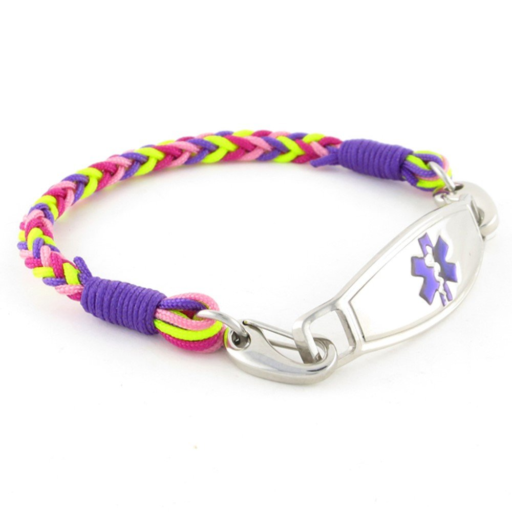 Braided Medical Alert ID Bracelet - Custom Engraving Included -Fun, Modern & Casual - Gumdrop