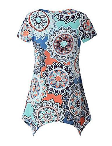 Cotton Floral Tunic - WISREMT Women's Floral Print Irregular Hem Short Sleeve Tunic T-Shirts Tops