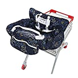 UNKU Multifunctional Shopping Cart Seat Cover, 2-in-1 High Chair Cover for Baby and Infant,Starnight Black