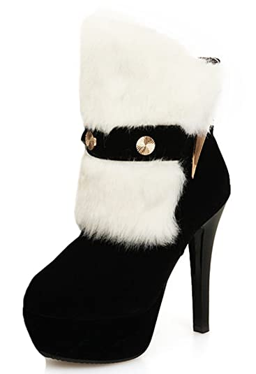 ba6169d0a45c IDIFU Women s Sexy Faux Fur Stiletto High Heels Platform Boots Club Ankle  Booties Black 4 B