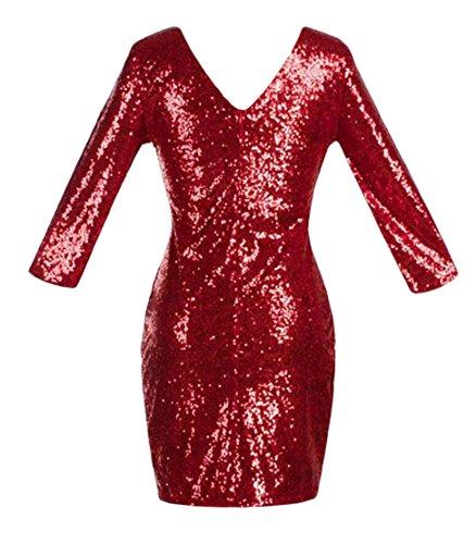 Cromoncent Femmes Paillettes Manches 3/4 Robes Club Ras Du Cou Moulante Crayon Claret