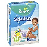 Pampers Splashers Swim Diapers Disposable Swim Pants, Medium (20-33 lb), 18 Count (Pack of 2)