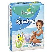Pampers Splashers Swim Diapers Disposable Swim Pants, Medium (20-33 lb), 18 Count (Pack of 2)