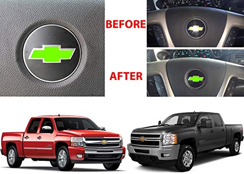 Compatible whiteLime Green Steering Wheel Vinyl Bowtie for 2007-2013 Chevrolet Silverado -