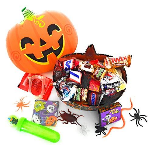 Spooky Halloween Candy & Toys in Jack O Lantern Pumpkin Shaped Keepsakes GIft Basket Box -