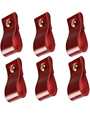 NUANNUAN 6 Pcs Leather Drawer Pulls Handmade Wardrobe Knob Replacement Dresser Cabinet Furniture Handles Mordern Closet Cupboard Lockers Bookcases Tool with Screws for Home School Office