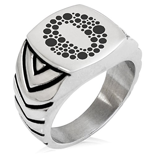 (Two-Tone Stainless Steel Letter O Alphabet Initial Dotted Monogram Engraved Chevron Pattern Biker Style Polished Ring, Size 8)