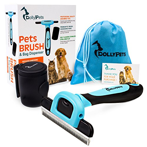 Deshedding Tool – Dogs and Cats Brush Set for Grooming and Shedding – Complete Pet Hair Removal with Bag Dispenser and 15 Bags Included