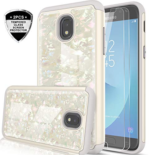 Galaxy J3 Orbit/J3 Emerge (2018)/J3 Star/J3V (3rd Gen)/J3 Achieve/Express Prime 3/J3 2018 Case w/Tempered Glass Screen Protector for Girls, LeYi Glitter Marble Case for Samsung Amp Prime 3 BKW White