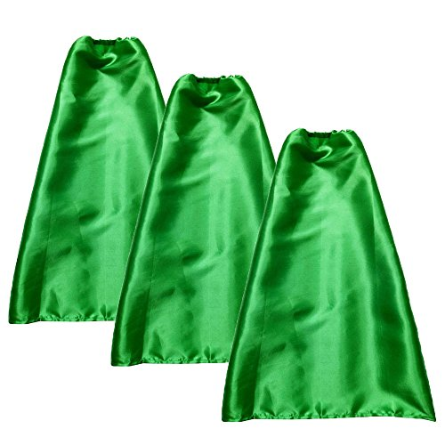 YIISUN Green Capes for Kids Boys Girls Cosplay Fancy Capes DIY Dress up Costume for Party Game (Pack of 3)(Green)
