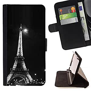 DEVIL CASE - FOR LG G2 D800 - Architecture Moonlight Black & White Eiffel - Style PU Leather Case Wallet Flip Stand Flap Closure Cover