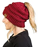 BT-6020a-9064 Messy Bun Womens Winter Knit Hat Beanie Tail - Burgundy (Metallic)