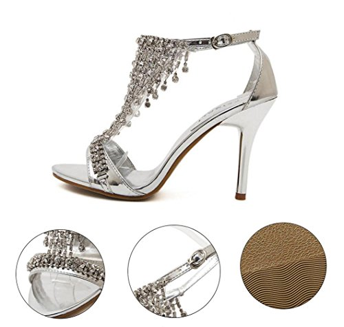WSK Women's Golden Rhinestone Sandals High-heeled shoes with open-toe shoes Buckle Women's Ultra High-heeled shoes Silver cJenzDI2
