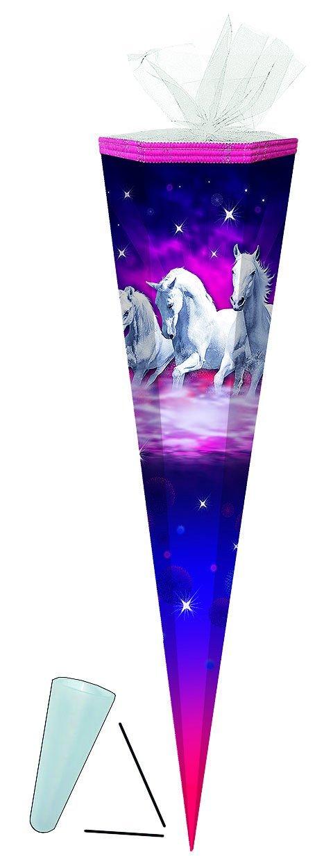 mit // ohne Kunststoff Spitze Traumpferde Pferde Zuckert/üte f/ür M/ädchen Pferd Traumpferd Schimmel Tiere lila Unbekannt Schult/üte T/üllabschlu/ß 50 cm rund