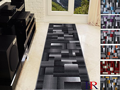 Handcraft Abstract – Black/Silver/Gray Geometric Modern Squares Pattern Area Rug 2 ft. by 7 ft. Runner. (Rug Square Gray)