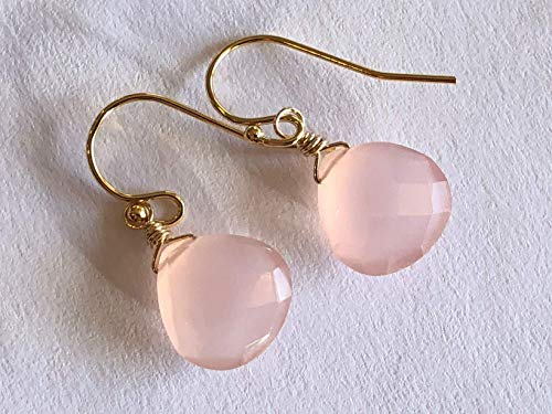 Blush Pink Chalcedony Gemstone Dangle Drop Earrings 14K Gold Filled - Jewelry Gift for Women