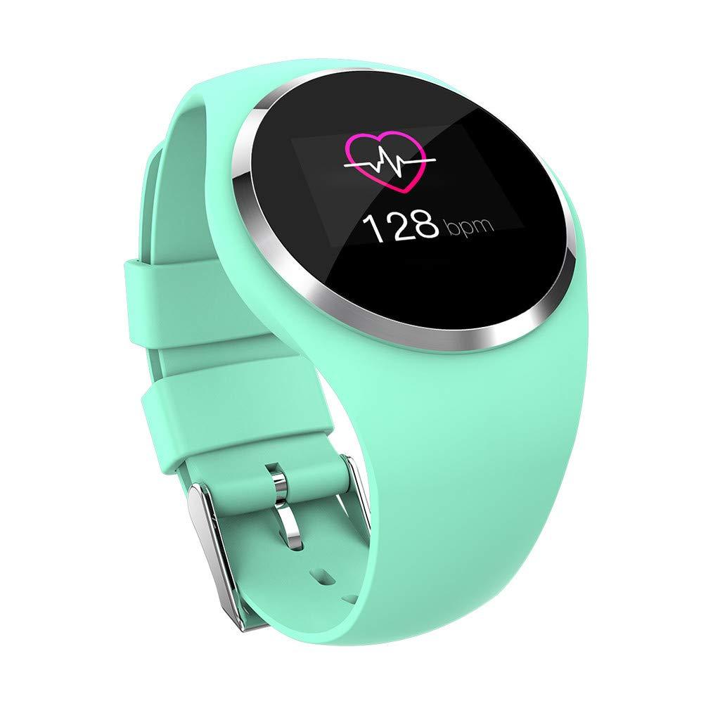 Women Sport Waterproof Watches, Female Heart Rate Sleep Monitor Bracelet Fitness/Sleep Tracker Passometer GPS Smart Watch (Green)