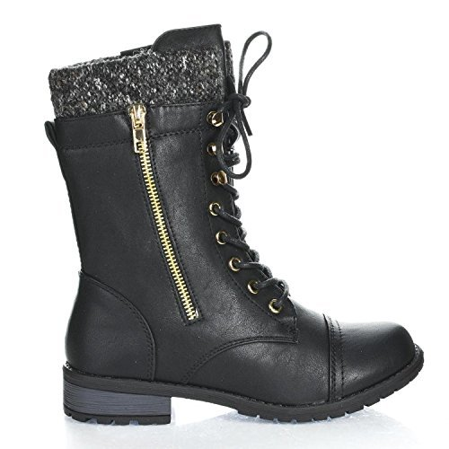Forever+Link+Womens+Mango-31+Round+Toe+Military+Lace+up+Knit+Ankle+Cuff+Low+Heel+Combat+Boots+BLK+PU+6.5