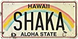 Pacifica Island Art 6in x 12in Vintage Hawaiian Embossed License Plate - Shaka