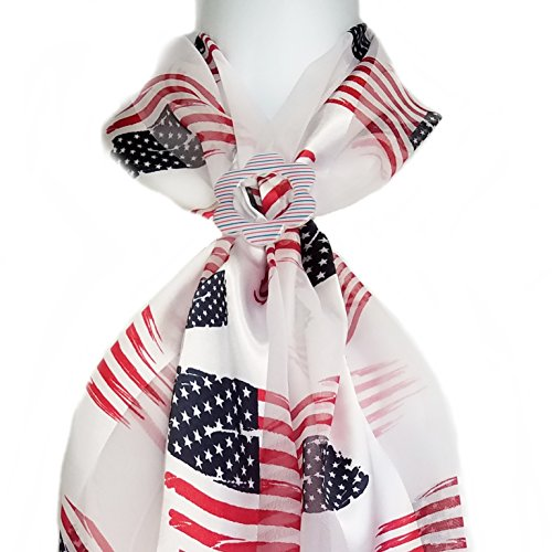ii Scarf & Clip- Patriotic Flags on White plus Red White & Blue Buckle Slide ()
