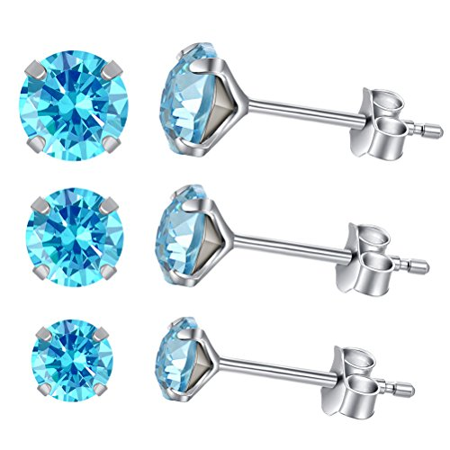 (Yan & Lei Sterling Silver Ear Studs Set of 3 Pairs with Blue Round Rhinestone in 4 mm, 5mm and 6 mm)