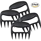 Original BEAR PAWS Pulled Pork Shredder Claws - BBQ Meat Handler Forks - Made in USA (1, Black 2-Pack)