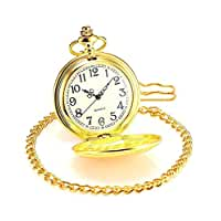 Jechin Classic Pocket Watch - Gold, Hunter Case, 14'' Chain, Comes in Silk-Lined Gift Box