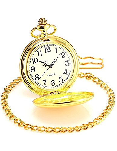 Classic Vintage Easy to Red Watches Stainless Steel Quartz Pocket Watch with Beautiful Pocket Watches Box -