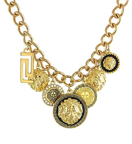 Lion Charm Necklace Matching Lionhead Button Earrings Unique 3D Textures Metalwork (gold-plated-base) ()