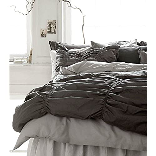 dark grey bedding. Shabby Chic Smocked Ruched Cotton Duvet Cover Dark Gray Smock Pleated Bedding 2pc Set Modern Slate Grey French Country Style Twin Single E